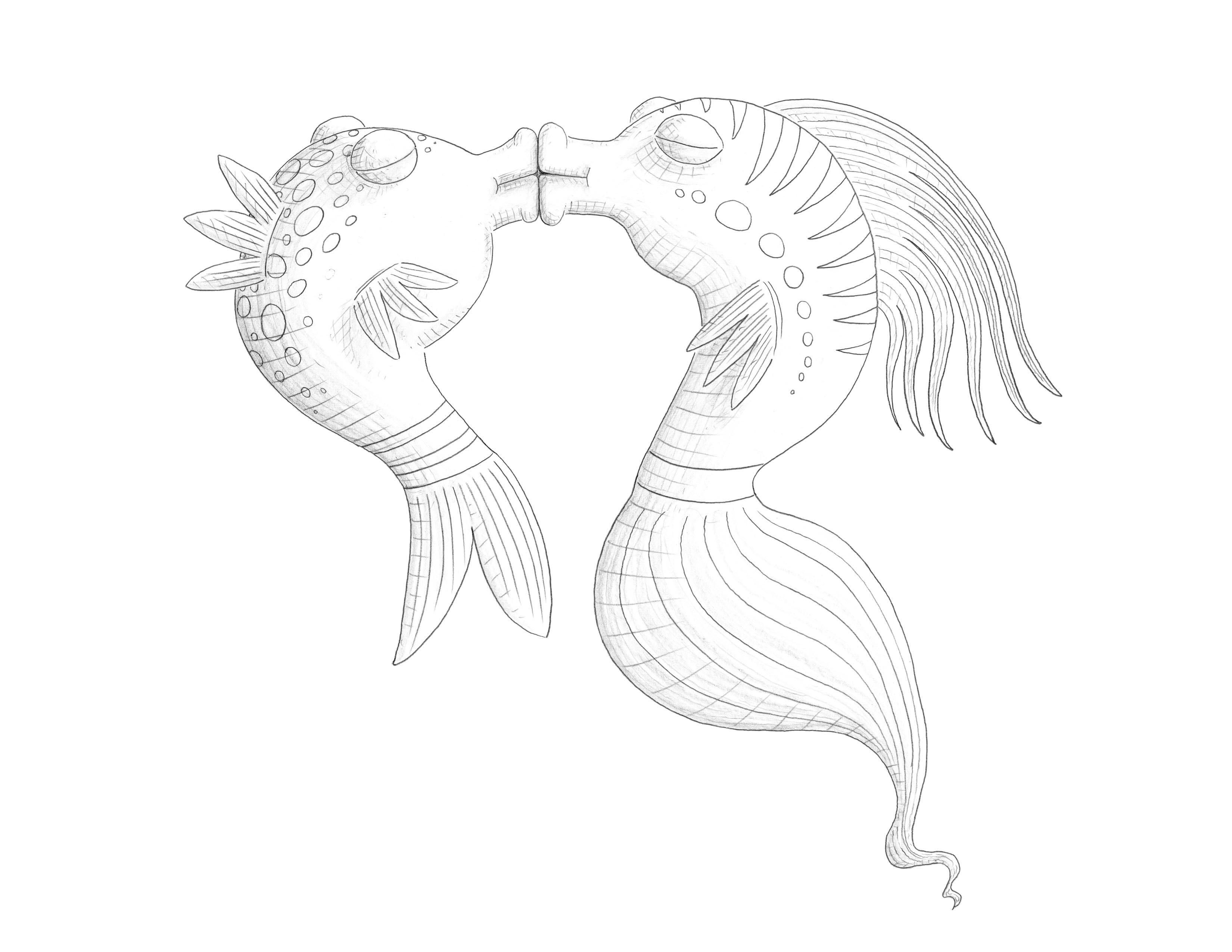 fishes kissing coloring pages - photo#25