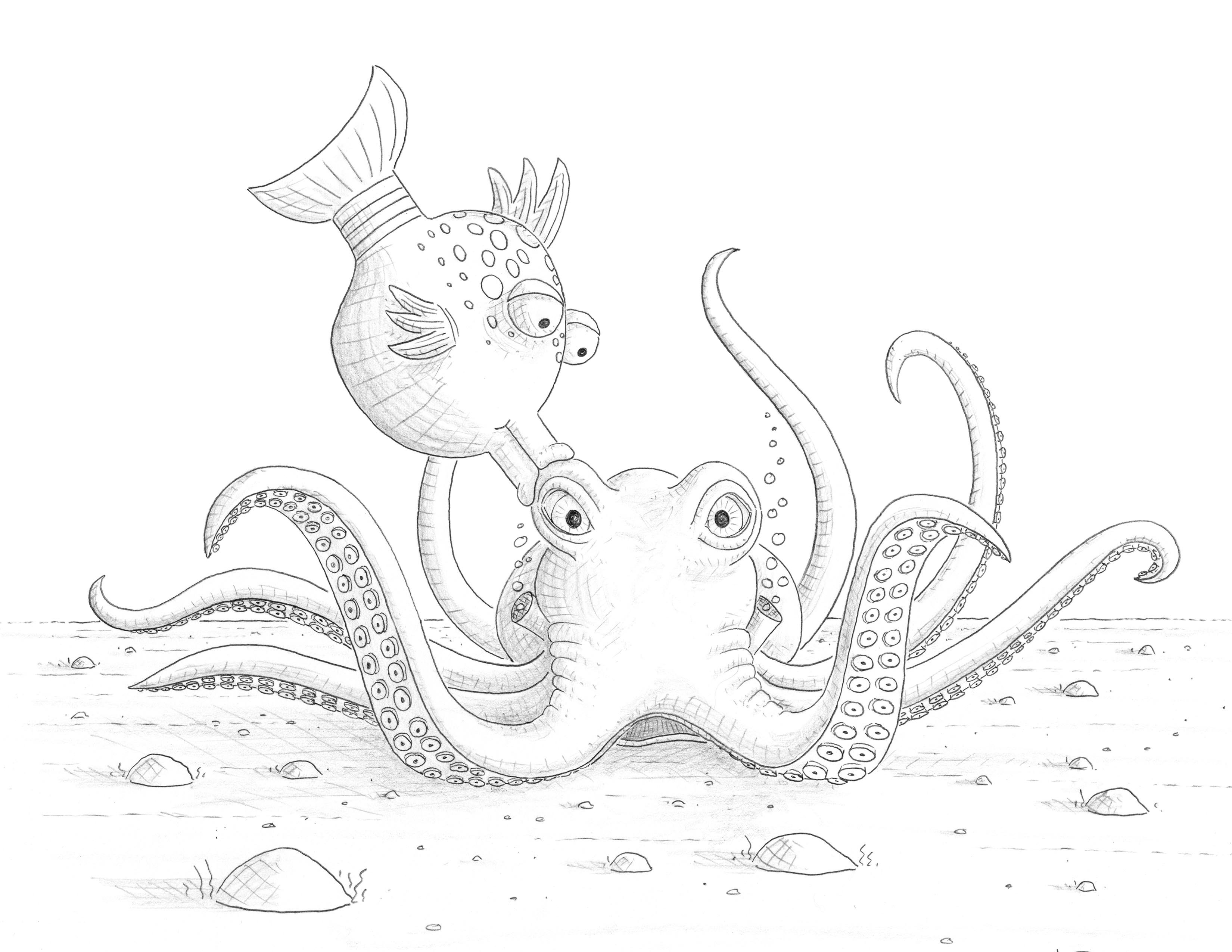 fishes kissing coloring pages - photo#26